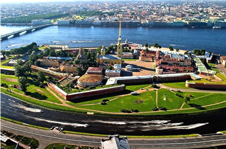 Hare Island with Peter and Paul Fortress today